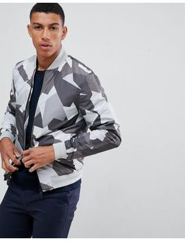 J.Lindeberg Thom Abstract Print Bomber Jacket In Grey by J. Lindeberg
