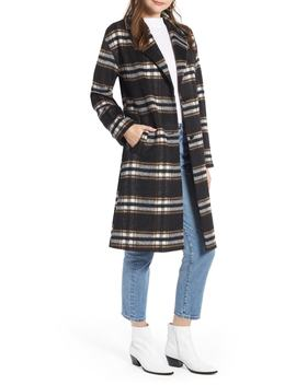 Longline Plaid Coat by Something Navy
