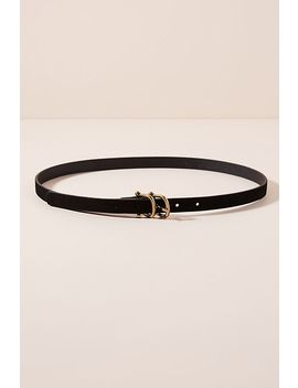 Double Buckle Thin Leather Belt by Anthropologie