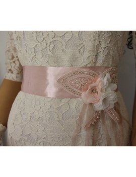 Wedding Belt, Bridal Dress Sach ,Bridessmaid Sach,White Bridal Belt,Flowers Ornament Sach,Pink Satin,Ribbon Belt by Etsy