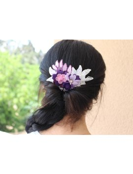 Floral Hair Comb Blush Flower Hairpiece For Wedding  Dusty Rose Boho Flower Hair Bridal by Etsy