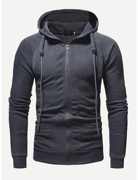 Men Zip Up Solid Hooded Sweatshirt by Sheinside