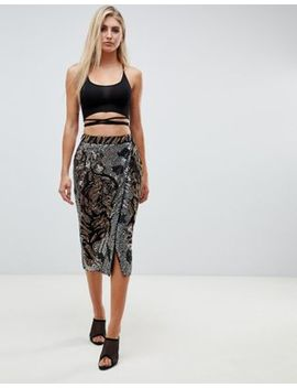 Asos Design Tiger Face Embellished Midi Wrap Skirt by Asos Design