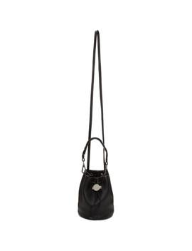 Black Baby Moon Drawcord Bucket Bag by Kara