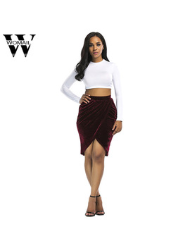 Womail Side Split Sexy Skirts Womens Soft Bow Wrap Velvet Skirt Women Autumn Winter High Waist Bodycon Mini Skirt Female 2018 by Womail