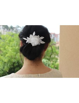 Bridal Hair Comb White Lace Wedding Hair Comb,Wedding Hair Accesories,Pearl Bridal Comb,H0002 by Etsy