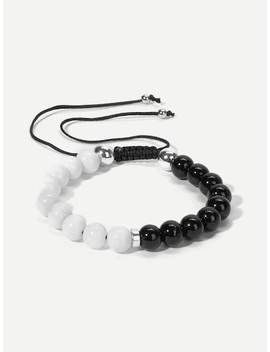 Men Two Tone Beaded Bracelet by Sheinside