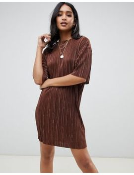 Asos Design Mini T Shirt Dress In Plisse by Asos Design
