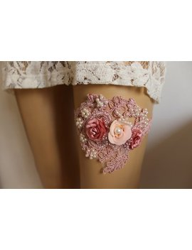 Wedding,Pink  Lace Bridal Garter,Wedding, Stretch Lace Garter , Bridal Garter , Wedding Garter Bridal Lace Garter, Bridal Lingerie Garter by Etsy