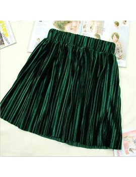 England Style 2018 Autumn Women Velvet Solid Pleated Mini Skirt Plus Size Velour Skirt M 6 Xl   by Asyabuykal