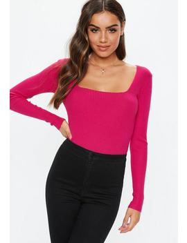 pink-square-neck-long-sleeve-knitted-bodysuit by missguided