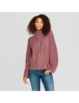 Women's Mock Neck Cable Pullover   Universal Thread™ Burgundy by Universal Thread