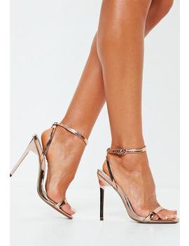 Rose Gold Square Toe Barely There Heels by Missguided