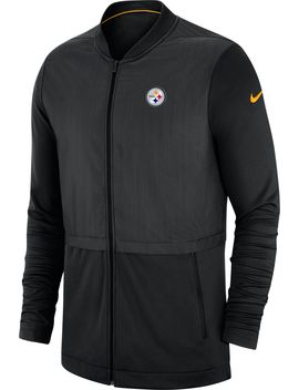 Nike Men's Pittsburgh Steelers Sideline Hybrid Full Zip Black Jacket by Nike