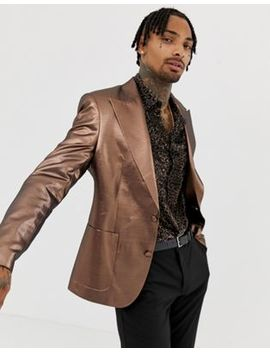 Asos Design Skinny 70s Metallic Copper Blazer by Asos Design