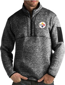 Antigua Men's Pittsburgh Steelers Fortune Black Pullover Jacket by Antigua