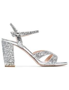 Silver 85 Glitter Sandals by Miu Miu