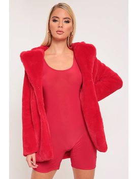 Red Faux Fur Longline Coat by I Saw It First