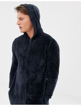 Asos Design Onesie In Navy Fleecy Fabric by Asos Design