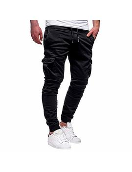 Wocachi Mens Casual Jogger Pants Sweatpants Drawstring Elastic Sports Trousers by Wocachi