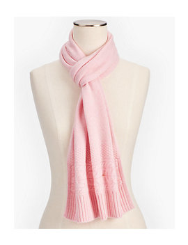 Marled Cashmere Cable Border Scarf by Talbots