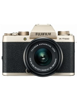 X Series X T100 Mirrorless Camera With 15 45mm Lens   Champagne Gold by Fujifilm