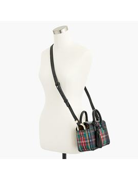 The Harper Mini Satchel In Stewart Black Tartan Printed Italian Leather by J.Crew