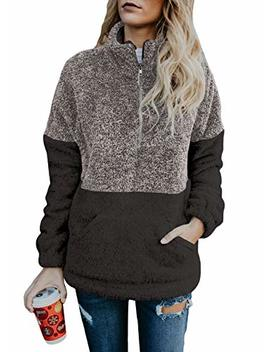 Sidefeel Women Button Neck Fleece Pullover Coat Asymmetrical Sweatshirts Outwear by Sidefeel