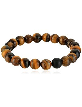 Crucible Jewelry Mens Polished Tiger Eye And Black Matte Onyx Bead Stretch Bracelet (10mm), Brown, One Size by Crucible Jewelry