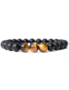 Sx Commerce Real Natural Matte Black Onyx Stone Bead Bracelet With Unique Tiger Eyes   Fashion Jewelry For Unisex Adult Size 8mm 26grain by Sx Commerce