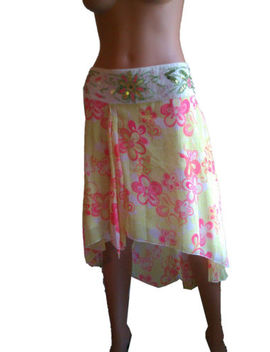H & M Embroidery Beaded Asymmetric Multi Green Pink Floral Tulle Skirt 10 Nwt! by H & M