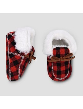 Baby Boys' Plaid Slipper   Cloud Island™ Red/Black by Cloud Island