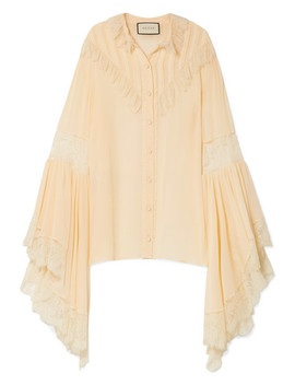 Oversized Lace Trimmed Silk Chiffon Blouse by Gucci