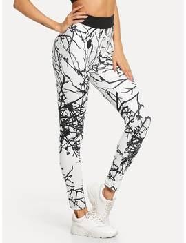 Graphic Print Skinny Leggings by Romwe