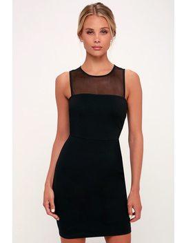 Victoria Black Mesh Sleeveless Bodycon Dress by Lulus
