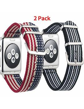 Nasir Apple Watch Band Nylon,Soft Breathable Premium Replacement Strap(9 Color,1 Piece Or 2 Pieces To Choose) For Men,Women,Apple Watch Series 3 Series 2 Series1,38mm 42mm by Nasir