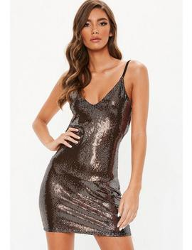 Copper Sequin Disc Cowl Back Mini Dress by Missguided