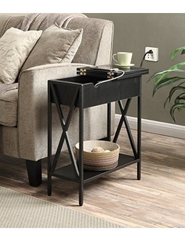 Convenience Concepts Tucson Electric Flip Top Table, Black by Convenience Concepts
