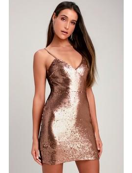 Glisten To Me Copper Sequin Surplice Mini Dress by Lulus