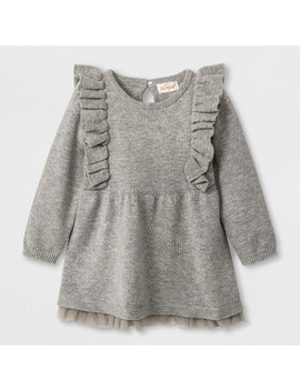 Baby Girls' Long Sleeve Ruffle Shoulder Sweater Dress   Cat & Jack™ Gray by Cat & Jack