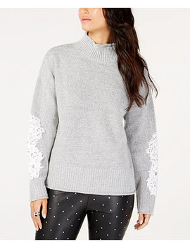 I.N.C. Petite Lace Sleeve Mock Neck Sweater, Created For Macy's by Inc International Concepts