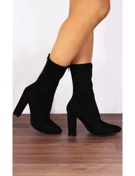Black Stretch Sock Pull On Ankle High Heels Boots by Shoe Closet
