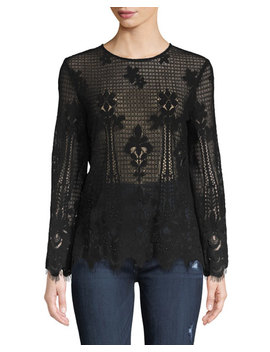 Studded Lace Long Sleeve Blouse by Anna Cai