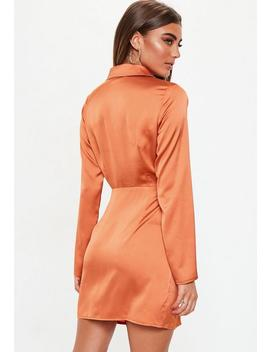 Terracotta Slinky Plunge Wrap Shift Dress by Missguided