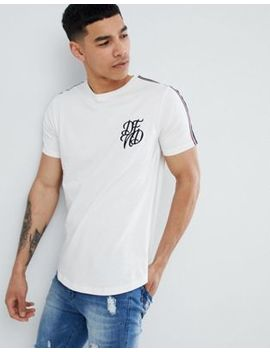 Dfnd Curved Hem T Shirt With Sleeve Tape by T Shirt