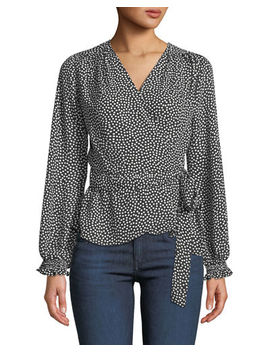 Long Sleeve Dotted Wrap Top by Max Studio