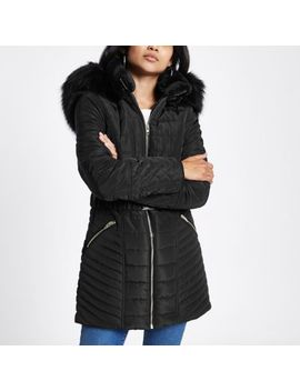 Petite Black Faux Fur Belted Puffer Jacket by River Island