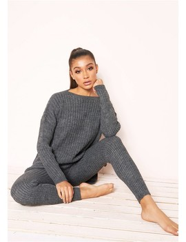 Anya Charcoal Knit Jumper Loungewear Set by Missy Empire