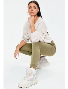 Petite Khaki Slim Leg Joggers by Missguided