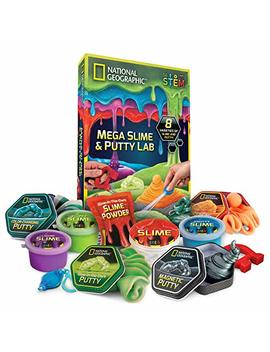 National Geographic Mega Slime & Putty Lab   4 Types Of Amazing Slime + 4 Types Of Stretchable Putty Including Magnetic Putty, Fluffy Slime And Glow In The Dark Putty by National Geographic